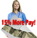 Get 15% more pay for travel nurse jobs or travel therapist jobs