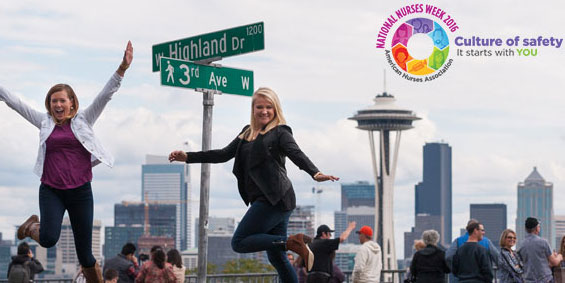 Travel nurses Jessica and Robyn both CC, RN's on assignment in Seattle, WA.