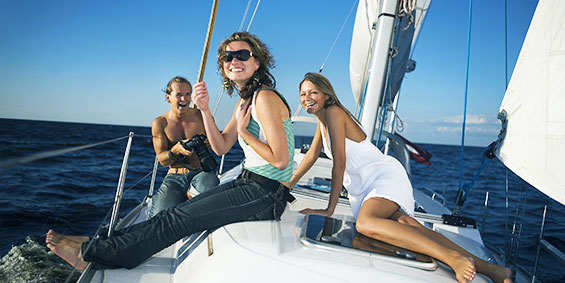 Boating with friends while travel nursing in Florida
