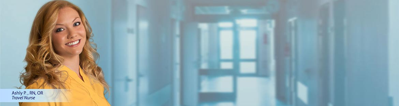 Travel nurse in hospital hallway