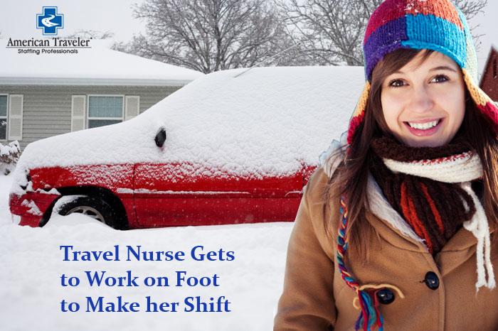 Nurse Traveling in Snow
