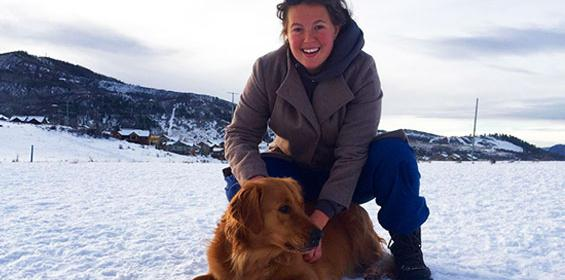 Travel Nurse Kristen with her dog Luke in Steamboat Springs, CO