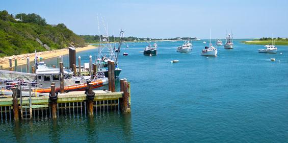 Cape Cod boats in bay