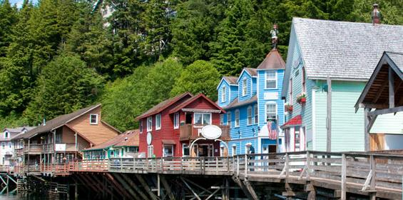 Row of shops on creek in Ketchikan