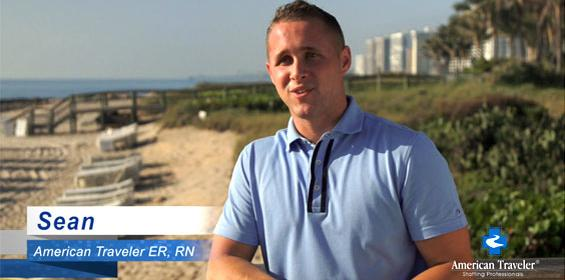 Registered nurse Sean on his Florida travel nursing job working for American Traveler