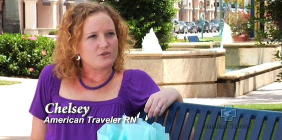 Video of Chesley, RN talking about her travel nursing career and new experiences