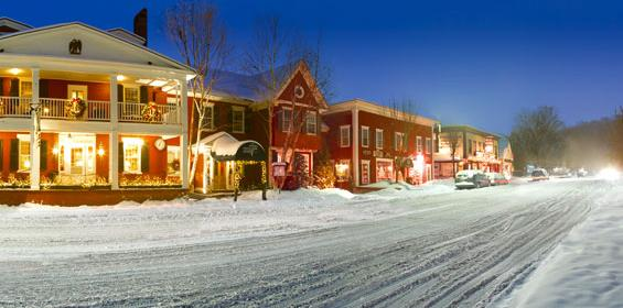 Winter of downtown New England in Vermont