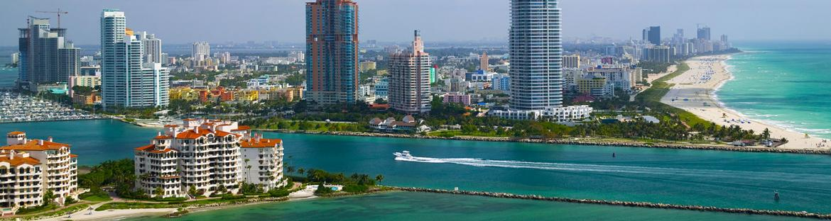 Miami Beach Government Cut and Fisher Island in Florida