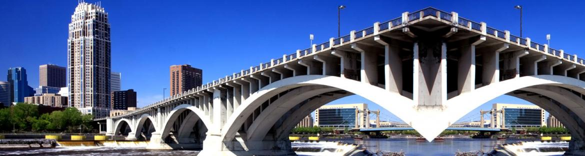 Central Ave bridge in downtown Minneapolis, Minnesota
