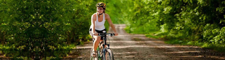 Biker on forest road in Mississippi