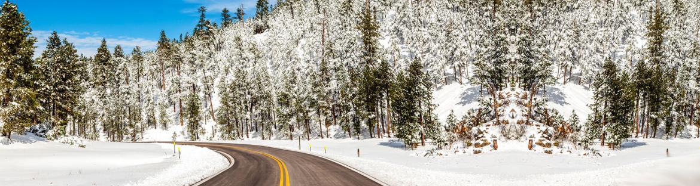 North Dakota winter snowy road in a sunny day