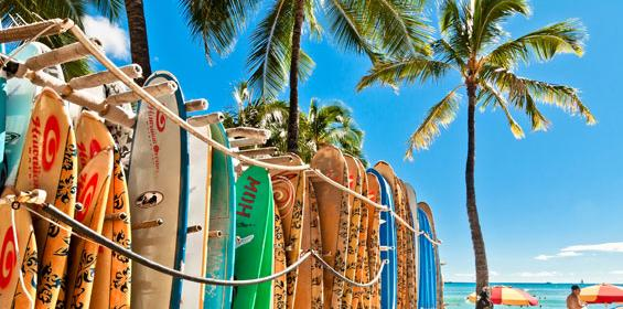 Honolulu surfboards on beach